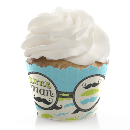 Dashing Little Man Mustache Party - Baby Shower or Birthday Party Cupcake Wrappers - Set of 12