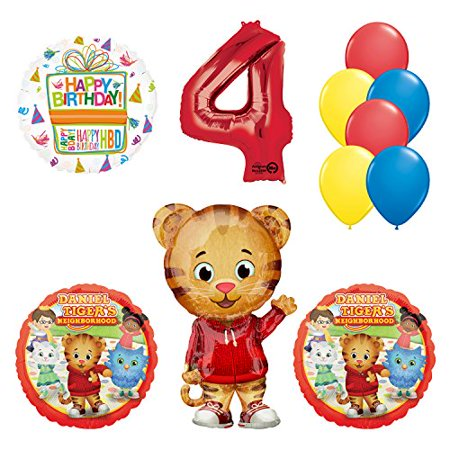 Daniel Tiger Neighborhood 4th Birthday Party Supplies and Balloon Decorations for $<!---->