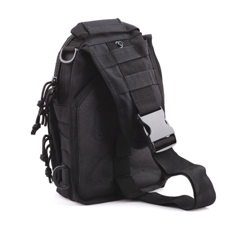 Outdoor Tactical Molle Utility Hiking Travel Sport Shoulder Sling Chest Pouch Bag, Black