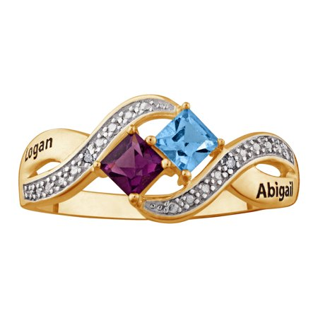 dd62a3bbef416 Personalized Diamond Accent Couple's 10kt Gold Square-Cut Birthstone and  Name Ring