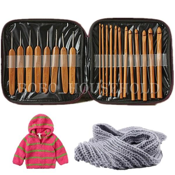 20Pcs 1-10mm Bamboo Crochet Hook Set Handle DIY Wooden Knitting Needle with Case