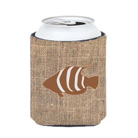 Carolines Treasures BB1020-BL-BN-CC Fish Burlap And Brown Can Or Bottle  Hugger - image 1 of 1