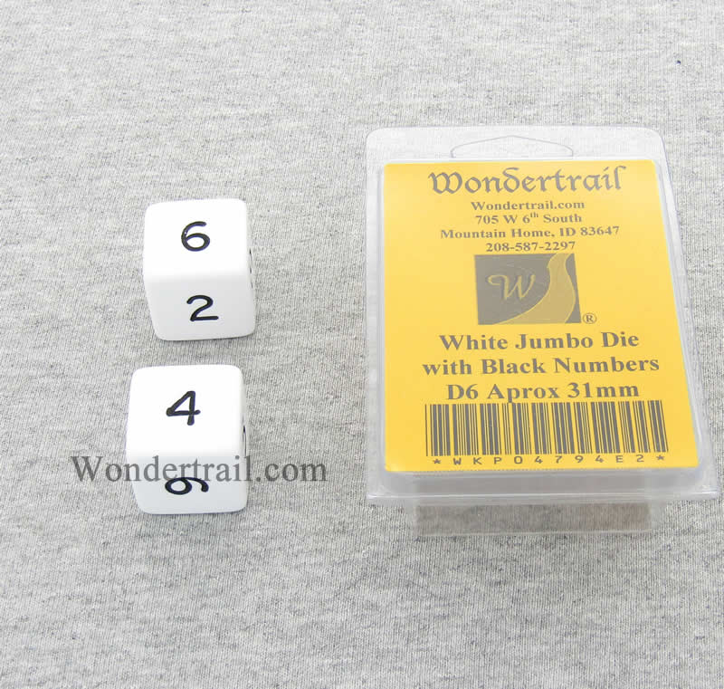 White Jumbo Dice with Black Numbers D6 31mm Pack of 2 Wondertrail