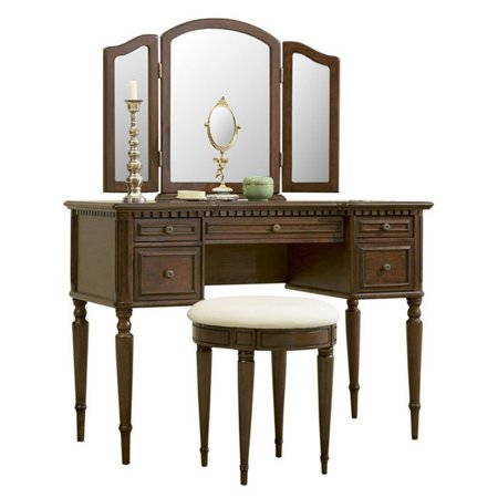 Powell 3-Piece Vanity, Mirror and Bench Set, Cherry