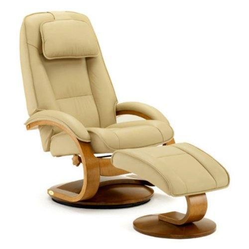 MAC Motion Oslo Collection Leather Wing Back Recliner with Ottoman