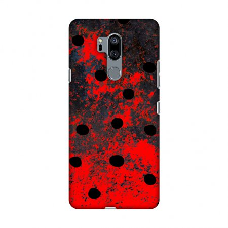 LG G7 Case, LG G7 ThinQ Case, Slim Fit Handcrafted Designer Printed Snap on Hard Shell Case Back Cover - Lady Bug - Black Dots On Grey -