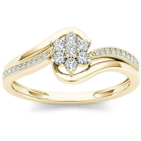 1/4 Carat T.W. Diamond Bypass Flower 10kt Yellow Gold Fashion Ring ()