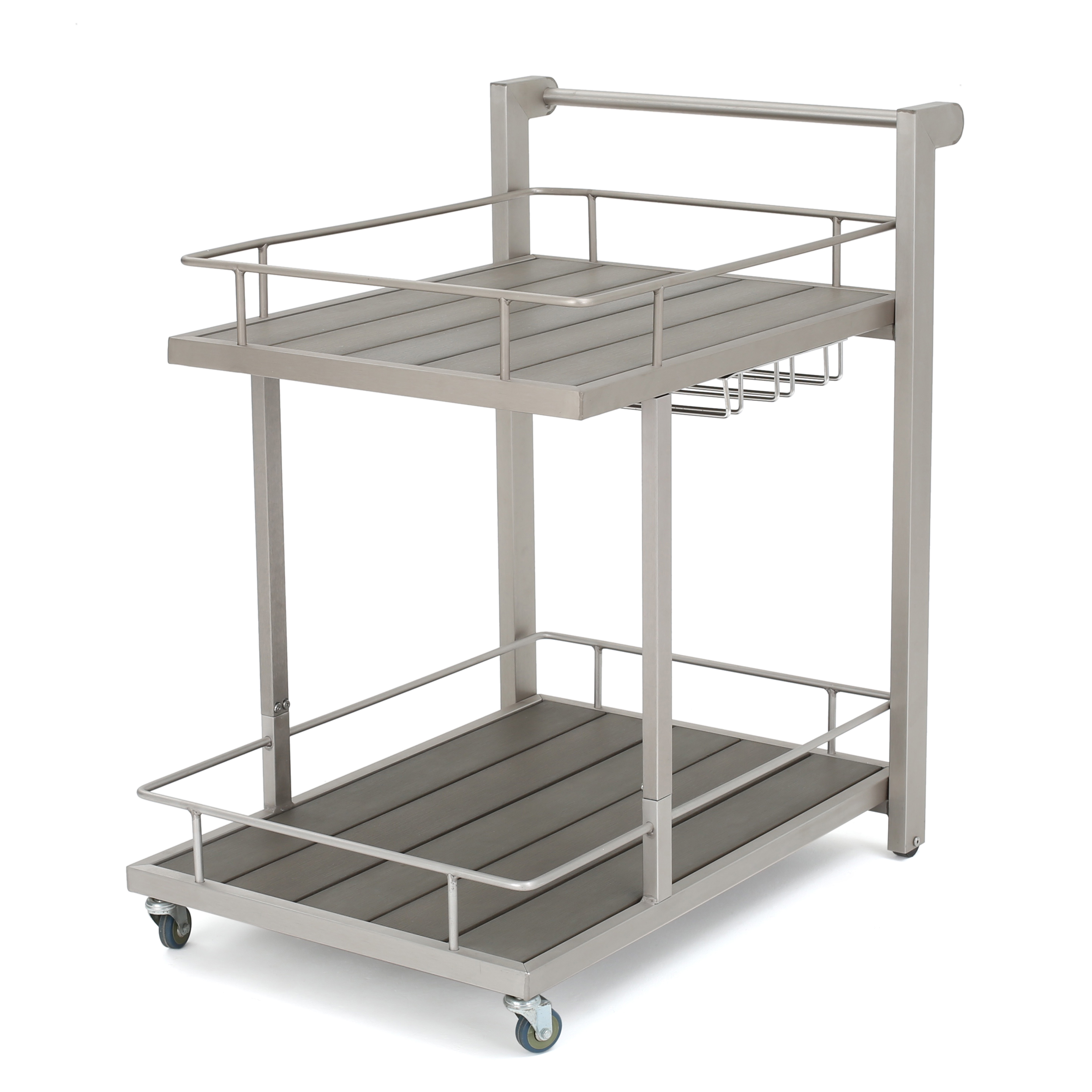 Coral Bay Outdoor Aluminum Bar Cart with Polymer Blended Wood Top