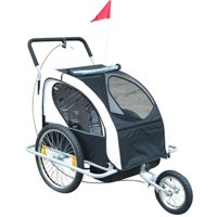 Anself  2-in-1 Double Child Bike Trailer and Stroller - Black