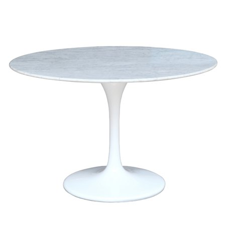Fine Mod Imports Flower Round Marble Top Dining Table in White - (60