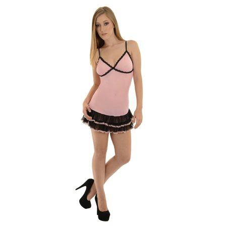 Shirley Womens Pink Sheer Mesh Babydoll Lingerie g-String Panties 2 Piece Set