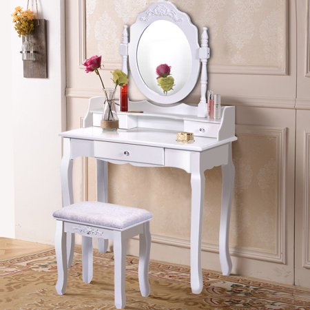 Costway White Vanity Wood Makeup Dressing Table Stool Set Bathroom With Mirror 3 Drawer