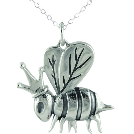 Sterling Silver 925 Honey Bee Queen Bee Pendant Necklace, 18
