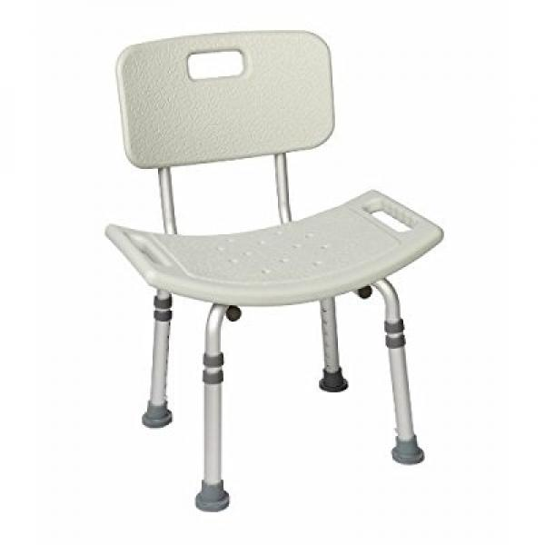 Healthline Trading Lightweight Bath Bench with Back Adjustable, Non-slip Seat