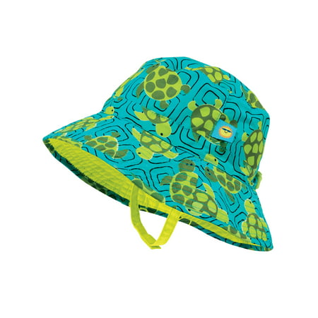 Sun Smarties Turtle Adjustable and Reversible Baby Boy Sun Hat - Turtle Print Reverses to a Solid Lime Green Brim Hat  - UPF 50+ Protected Brim Logo Adjustable Hat