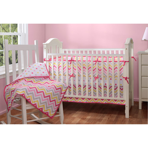 Baby Boom Zig Zag Reversible 4pc Crib Bedding Set