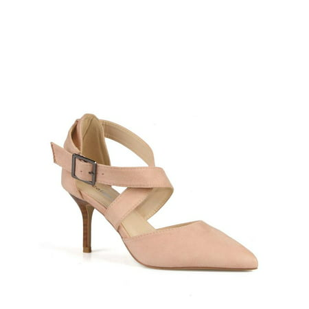 Criss Cross Ankle Strap (Calico Kiki Criss cross Adjustable Ankle Strap Women's Pumps in Blush )