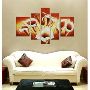 The Lighting Store 'Flowers' Hand-painted Oil on Canvas Art (Set of 5)