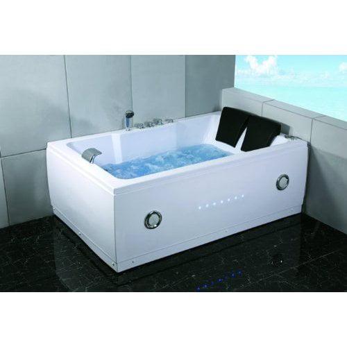 "72"" Bathtub Jetted Whirlpool 2 Person White 14 Massage"