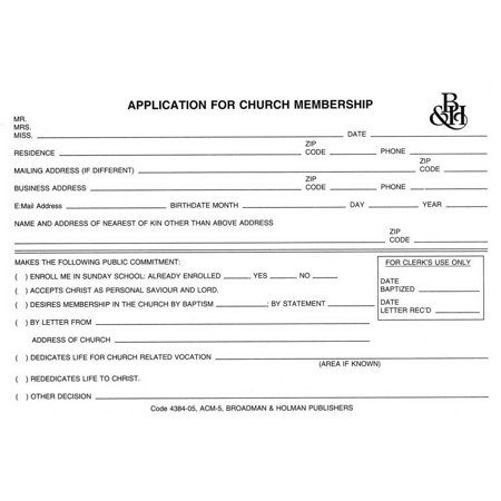 Form Application For Church Membership  Form Acm 5   Pack Of 100