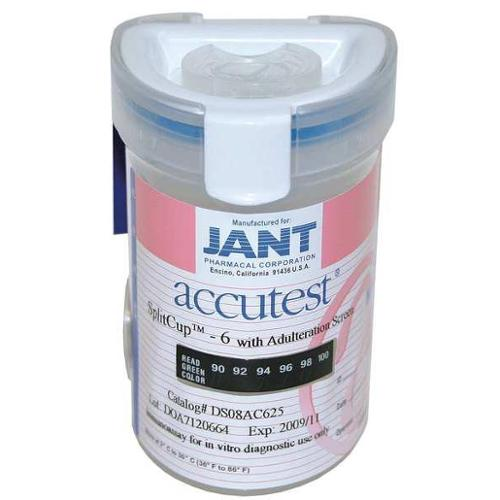 ACCUTEST IP08AC625 Drug Test Cup, SplitCup 6+3, Kitted, PK25
