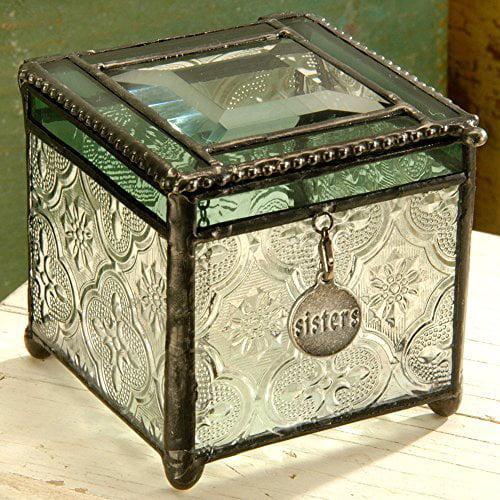 J Devlin Box 409 Green Stained Glass Jewelry Keepsake Box Gift For Sister Decorative Trinket Box Vintage Home Decor Sister Charm Walmart Com Walmart Com