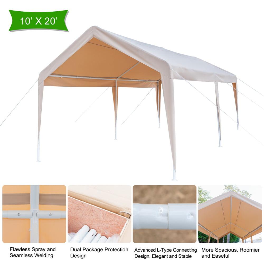 Top Knobs 10 x 20 Ft Heavy Duty Khaki Carport, Car Canopy Versatile Shelter, Khaki