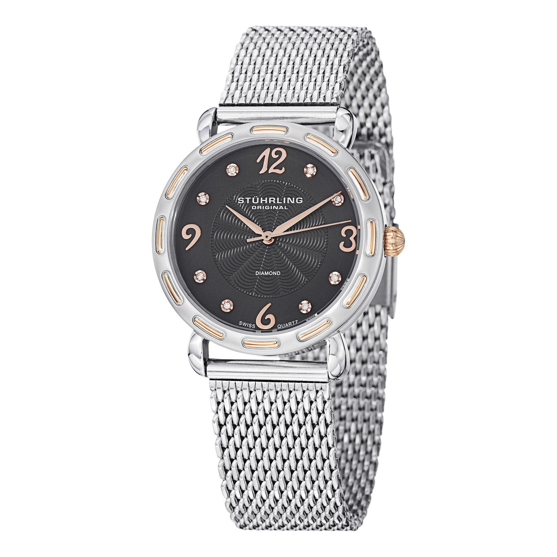 Stuhrling Original  Women's Couture Quartz Diamond SS Mesh Band Watch with Gray Dial