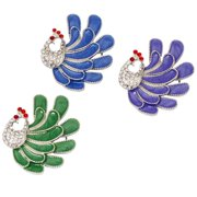 BMC Peacock 3pc Womens Silver Colored Clear Rhinestone Statement Brooch Set