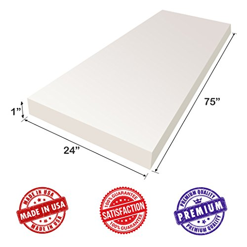 """Upholstery Foam Cushion Sheet- 1""""x24""""x75""""-Regular Support Density-Premium Luxury Quality- Good for Sofa Cushion, Mattresses, Wheelchair, Poker Table, and Much More- by Dream Solutions USA"""