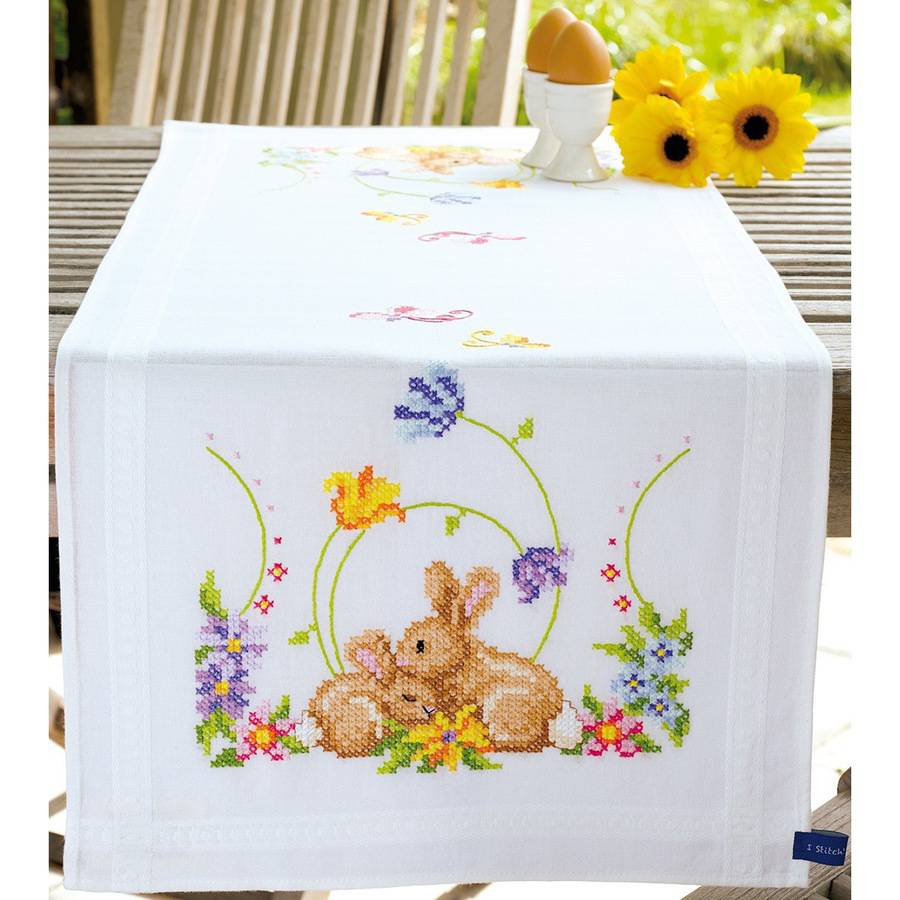 """Vervaco Rabbits Table Runner Stamped Embroidery Kit, 16"""" x 40"""""""