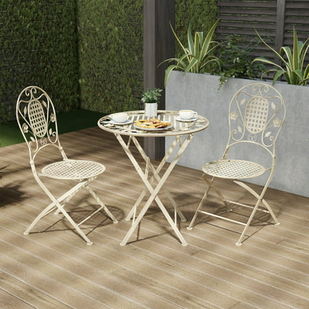 Folding Bistro Set – 3PC Table and Chairs with Lattice & Leaf Design – Outdoor Furniture for Garden, Patio, Porch by Lavish Home (Antique White) ()