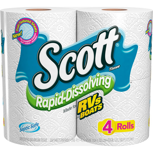 Scott Rapid Dissolve Bath Tissue, 4-Pack