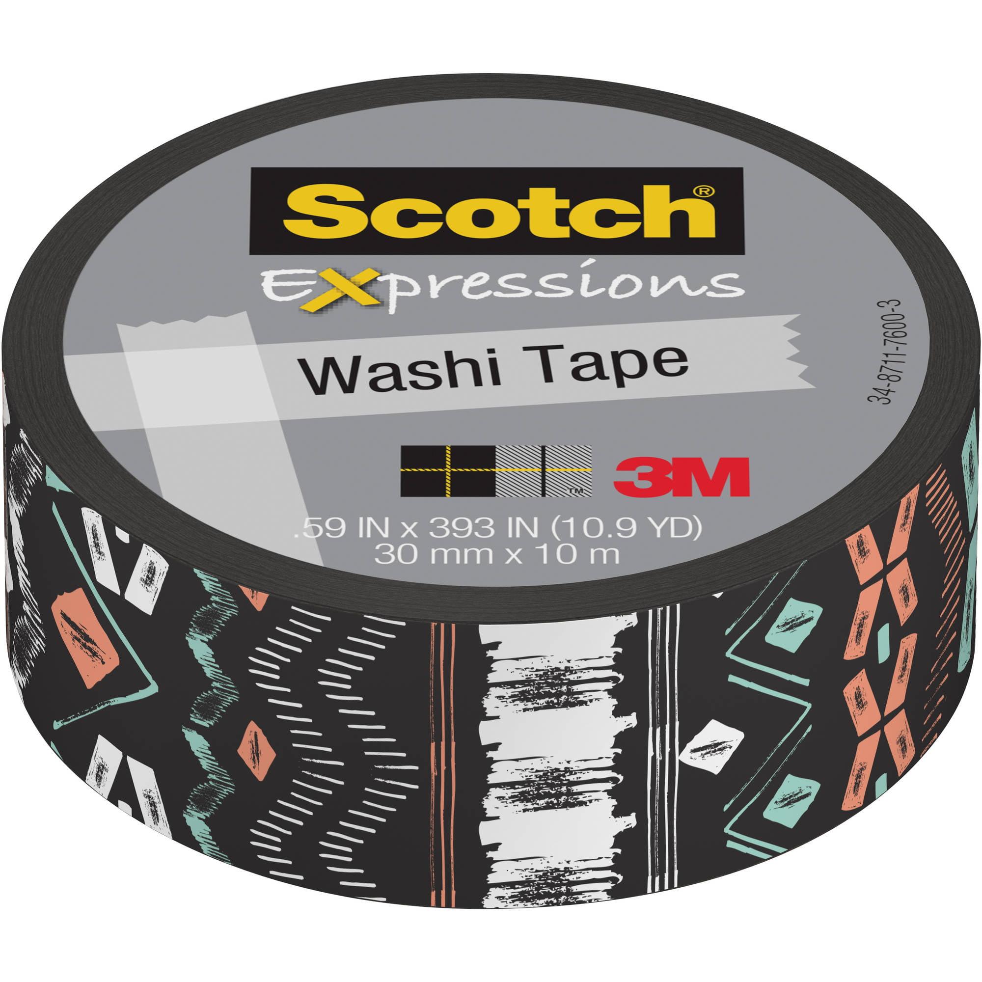 "Scotch Expressions Washi Tape, .59"" x 393"", Black Tribal"