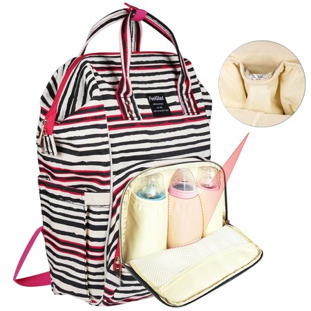 Pocket Diaper Bag - Reactionnx Diaper Bag for Baby Care - Multi-Function Waterproof Mommy Bag with Insulated Pockets - include Nappy Changing Handbag and Stroller Straps - Large Capacity for Travel Work or Outing