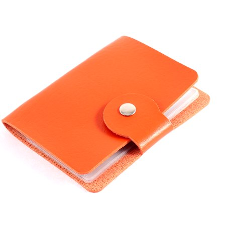Faux Leather Rectangle Button Press Bank Credit Business Card Holder Orange