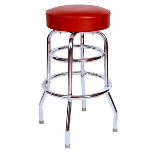 "Richardson Seating Retro 1950s 30"" Chrome Swivel Bar Stool in Wine"