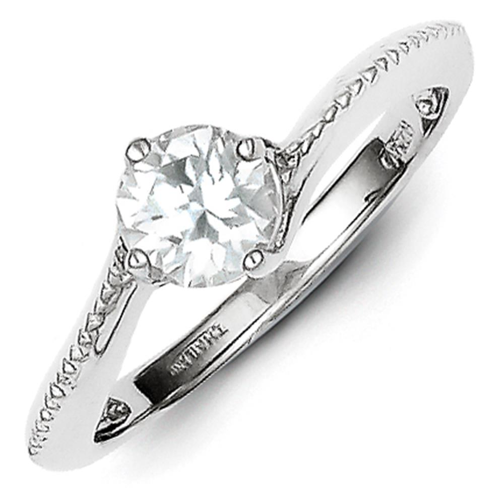 925 Sterling Silver Rhodium Plated Polished & Textured CZ Solitaire Ring Size 8