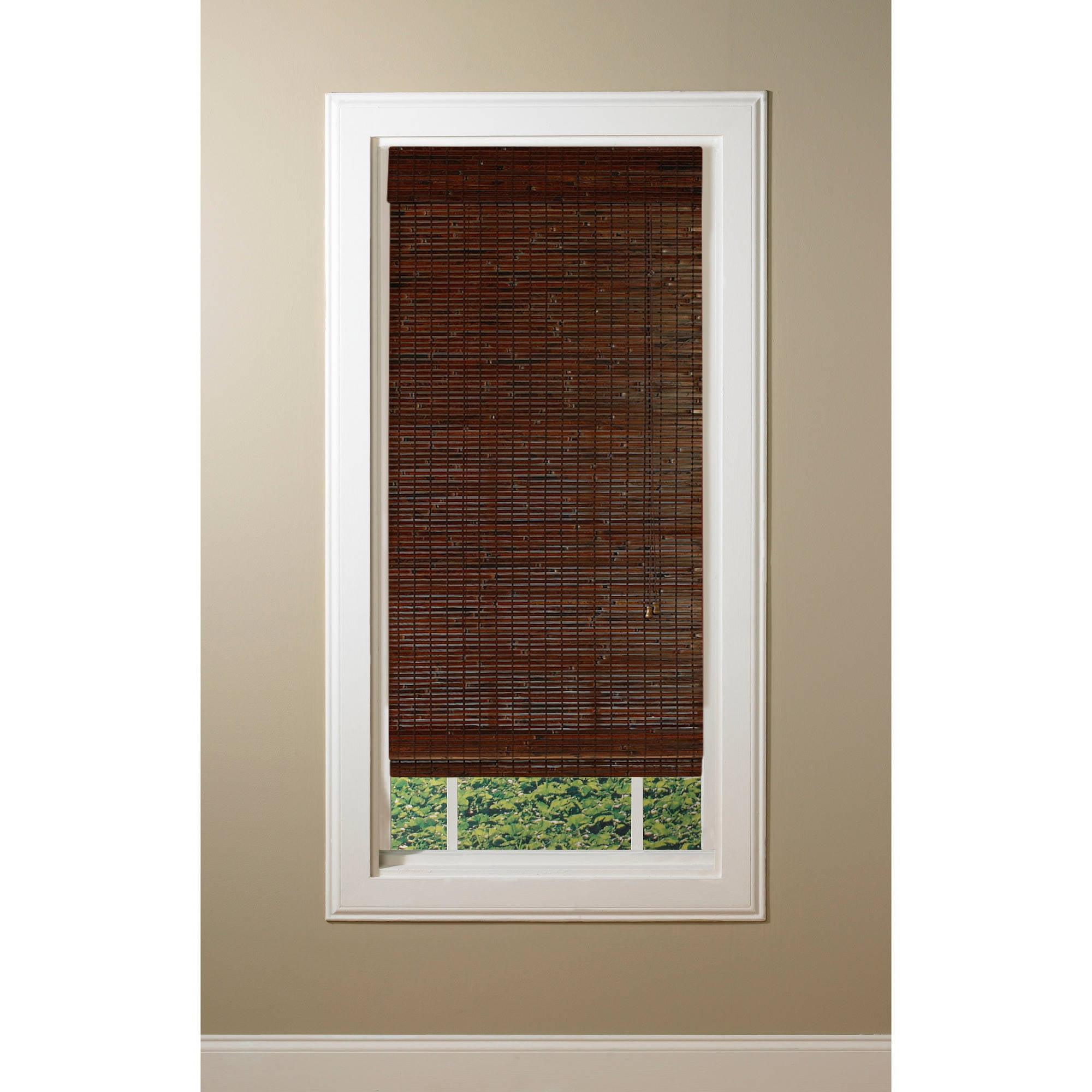 35 X 72 Kona Mahogany Woven Wood Bamboo Roman Shade Walmart Com