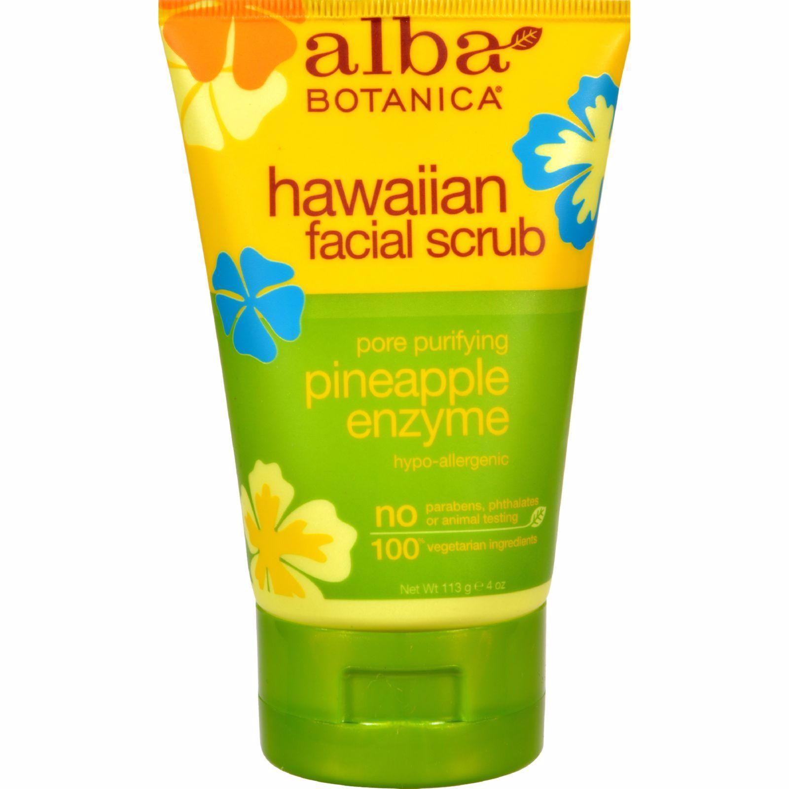 4 Pack - Alba Botanica Hawaiian Facial Scrub, Pore Purifying Pineapple Enzyme 4 oz Chapstick Cake Batter .15oz
