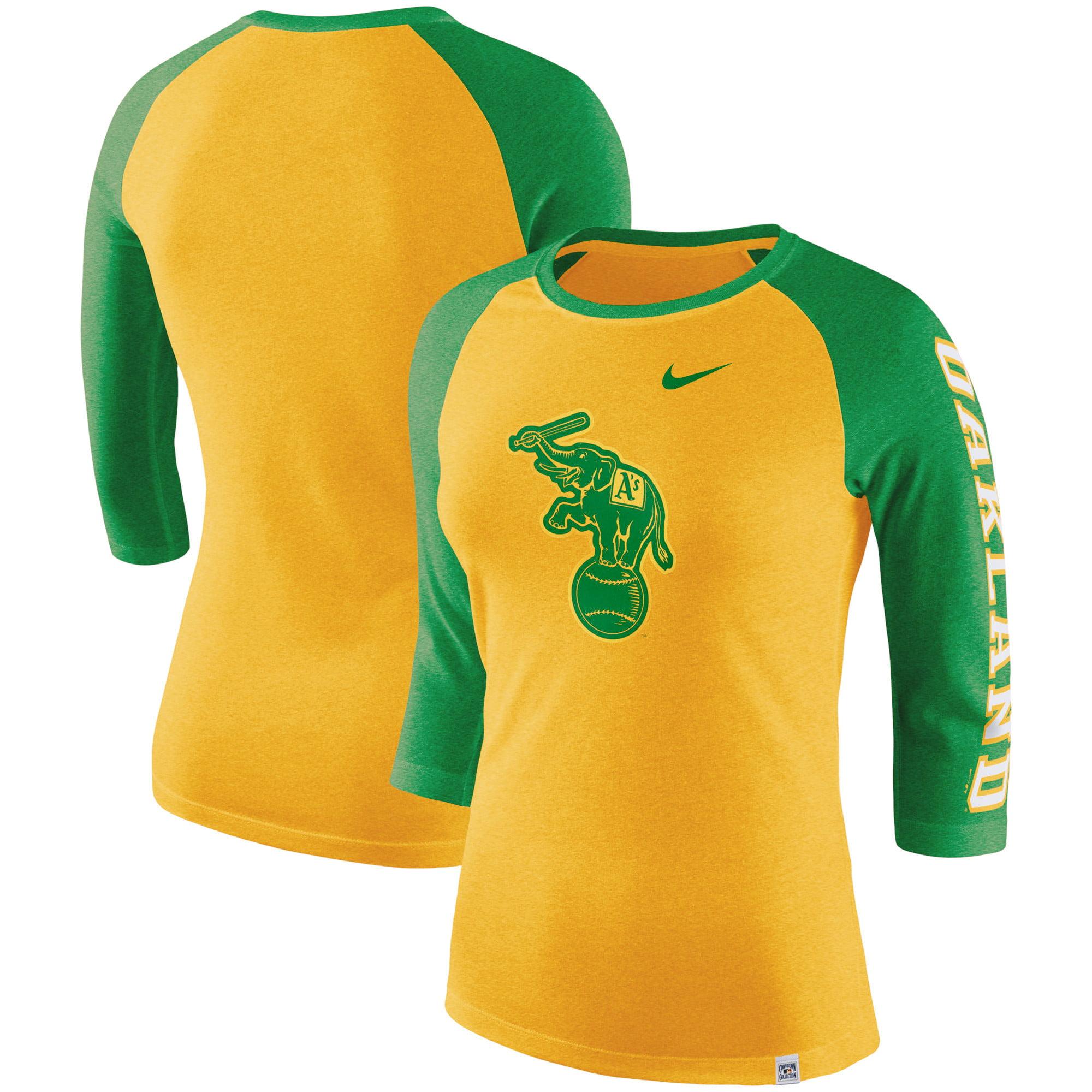 Oakland Athletics Nike Women's Vintage Logo Tri-Blend 3/4-Sleeve Raglan T-Shirt - Heathered Gold/Kelly Green