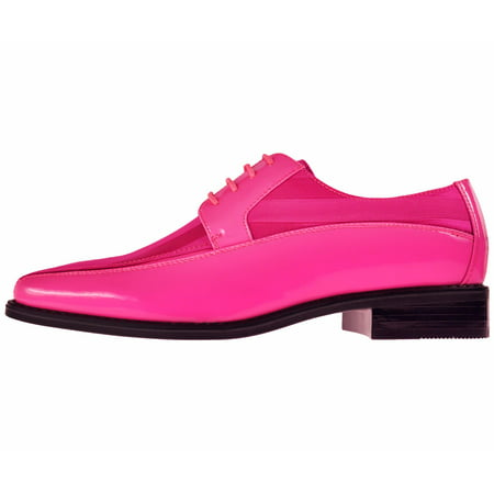 Viotti Men's Formal Oxford Dress Shoe Striped Satin Patent Tuxedo Classic Lace up Style (Sexy Pink Lace Stiletto Heel)