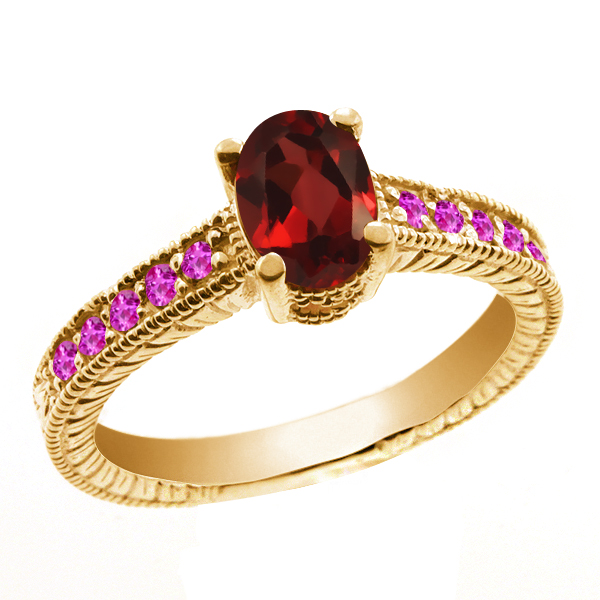 1.40 Ct Oval Red Garnet Pink Sapphire 18K Yellow Gold Ring by