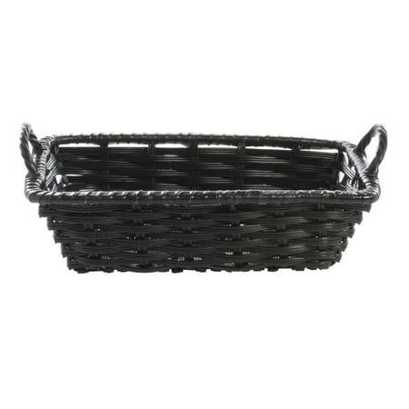 Wicker Storage Basket Black Plastic- 10