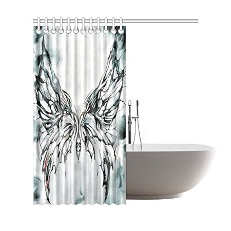 GCKG Watercolor Butterfly Shower Curtain, Black and White Polyester Fabric Shower Curtain Bathroom Sets with Hooks 66x72 Inches - image 1 of 3