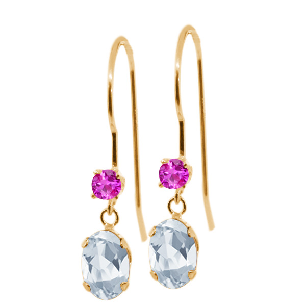 1.26 Ct Oval Sky Blue Topaz Pink Sapphire 14K Yellow Gold Earrings