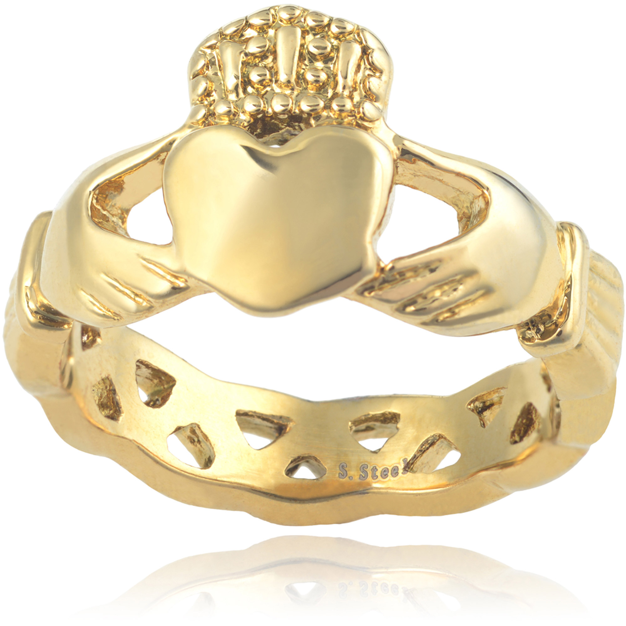 Brinley Co. Women's Stainless Steel Claddagh Ring, Gold