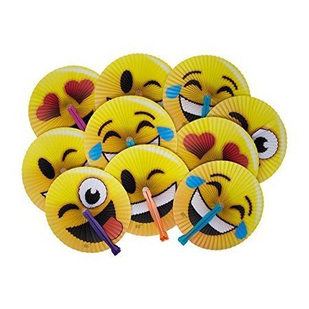 Pool Party Theme Ideas (Emoji Face Paper Folding Fans - 24 Pack 10