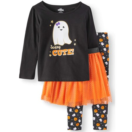 Halloween Long Sleeve T-Shirt, Leggings & Glitter Tutu, 3pc Outfit Set (Toddler Girls) - Girl Duos For Halloween