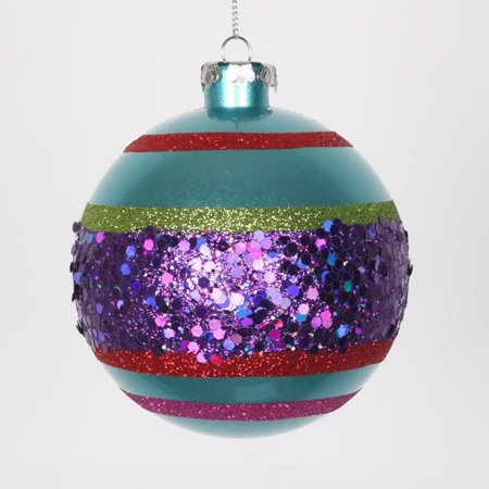 4ct Teal Blue and Purple Shatterproof Christmas Glitter ...